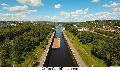 Gateway on the river. Sluice Gates. - Sluice Gates on the...