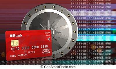 3d of valut door - 3d illustration of valut door over red...