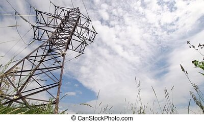 High voltage post.High-voltage tower sky background....