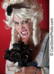 Woman dressed as scary Marie Antoinette - Woman wearing a...