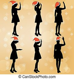 silhouette of woman pray with merry christmas