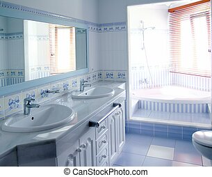 clássicas, azul, banheiro, Interior, azulejos,...