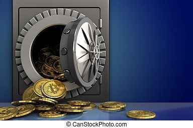 3d bitcoins heap over blue - 3d illustration of metal safe...