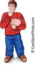 man in a red shirt