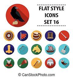 Vikings set icons in flat style. Big collection of vikings vector symbol stock illustration