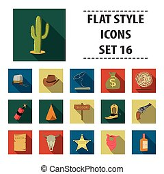 Wild west set icons in flat style. Big collection wild west...