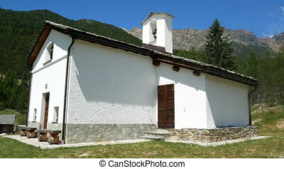 Small church in a village on the mountains