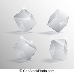 Vector realistic illustration of a transparent glass cubes in different positions