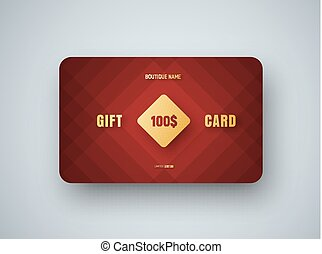 Premium gift card template with a golden square on a red  background
