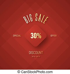 Design a red banner for a big sale and a discount with a flying rhombus