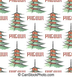 Colorful japanese pagoda seamless pattern, vector...