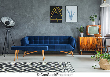 Dark comfy couch - Dark blue comfy couch with matching...