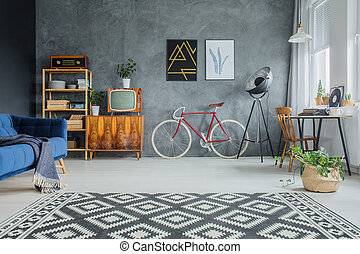 Carpet with geometric pattern - Black and white carpet with...