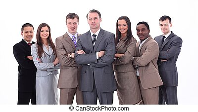 businessman and professional multinational business team -...
