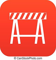 Traffic barrier icon digital red for any design isolated on...