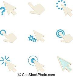 Pointer icons set, cartoon style - Pointer icons set....