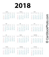 Calendar 2018. Week starts from Sunday. Vector Illustration...