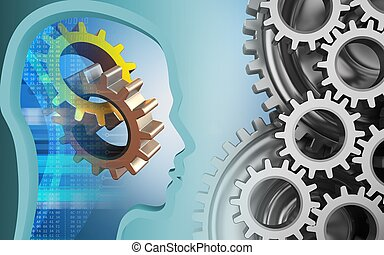 3d head profile - 3d illustration of gears over blue...