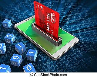 3d bank card - 3d illustration of white phone over digital...