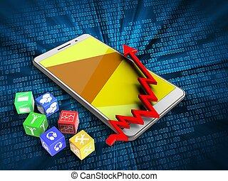 3d cubes - 3d illustration of white phone over digital...