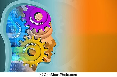 3d gears - 3d illustration of success system over orange...