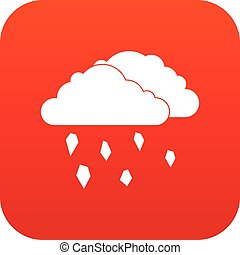 Clouds and hail icon digital red for any design isolated on...