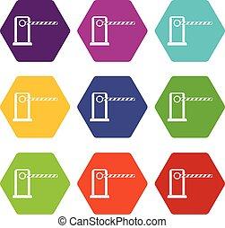 Parking entrance icon set color hexahedron - Parking...