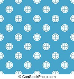 White round window pattern seamless blue - White round...
