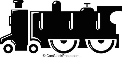 Old steam locomotive icon , simple style