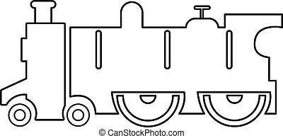 Old steam locomotive icon , outline style