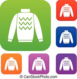 Pullover set collection - Pullover set icon in different...