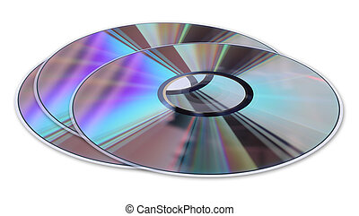 Three CD DVD disks isolated on White - Three CD DVD disks...