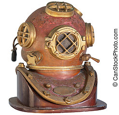 Antique, Brass Diving Helmet on a White Background -...