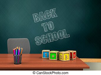 3d pencils - 3d illustration of schoolboard with back to...