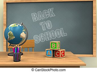 3d chalkboard - 3d illustration of chalkboard with back to...