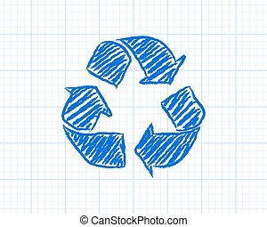 Recycle Symbol Graph Paper - Recycled symbol drawn on graph...