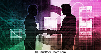 Business Partners with a Handshake Concept Silhouette