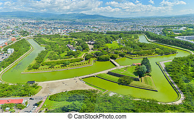 View of Goryokaku Park, where is a star fort in Hakodate,...
