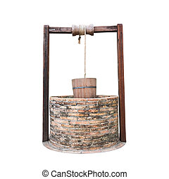 Traditional chinese water well With Pulley and Bucket isolated on white background, Clipping paths included