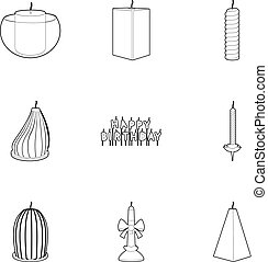Candle forms icons set, outline style - Candle forms icons...