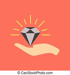 flat icon on stylish background poker Diamond in the hand -...