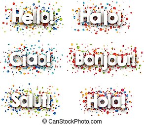 Hello card with colorful confetti. - Hello paper card with...