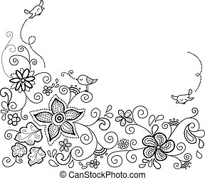 floral background dashed - Floral background design with...