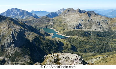 Panoramic view of lake Gemelli basin on the Bergamo Alps,...