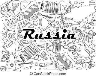 Russia line art design vector illustration - Russia coloring...