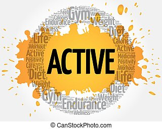 ACTIVE circle stamp word cloud, fitness, sport, health...