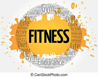 FITNESS circle stamp word cloud, fitness, sport, health...