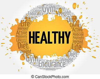 HEALTHY circle stamp word cloud, fitness, sport, health...