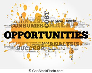 Opportunities word cloud collage, business concept...