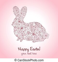Easter Rabbit Pink - Rabbit shape hand-drawn greeting card...